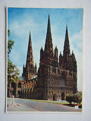 Lichfield Cathedral The West Front Postcard