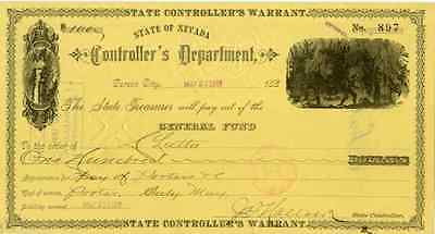 1888 Nevada State Controllers Warrant