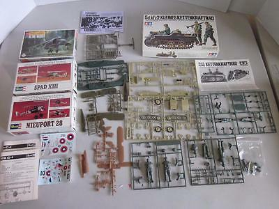 Lot of 4 Military Model Kits Incomplete Airplane & Armor Revell Tamiya 1:72 1:35