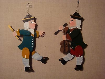 Nancy Thomas Set Lot Wooden Colonial Hand Painted Folk Art Signed Dated Ornament