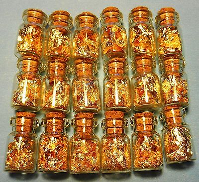 100 glass vials of 24K GOLD leaf flakes sealed with cork no liquid BEST ON WEB