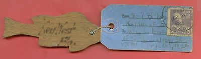 USA Prexie Prexy 3c Solo used on Mailing TAG to Ship small Wooden Fish 1945
