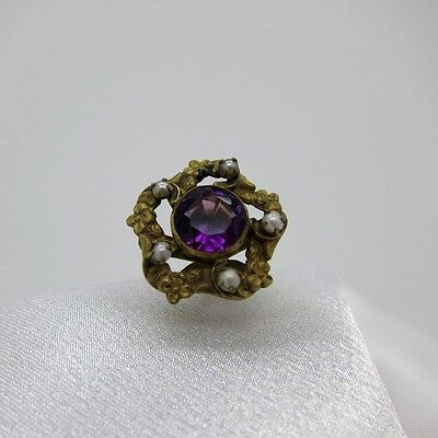 Antique Bright Purple Stone with Seed Pearls Hatpin Hat Pin