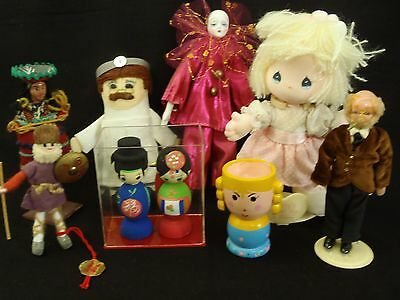 Lot of 8 Vintage Dolls wood, celluloid, cloth & more