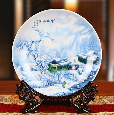 Beautiful Chinese Blue And White Porcelain Hand Painted Snow Scene Plate Tq10702