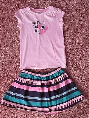 Gymboree Hop 'n' Roll 2 Piece Outfit - Fox Shirt (10) with Striped Skirt (8)