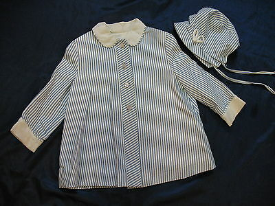Baby Blue & White Stripe Vintage Coat w Matching Bonnet Peter Pan Collar - Lined