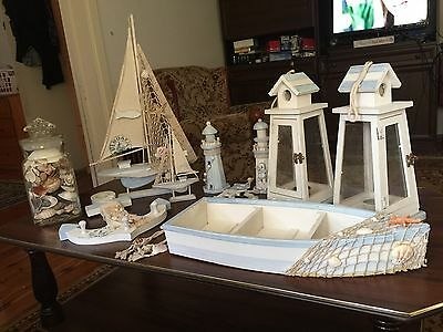 Nautical Beach Wooden Boat decor Set  / navy blue - hanging home ornament