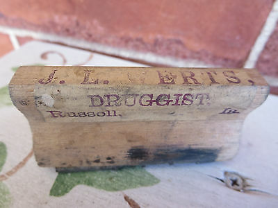 Antique Wood & Rubber Druggist Stamp J L Werts Russell Iowa IA