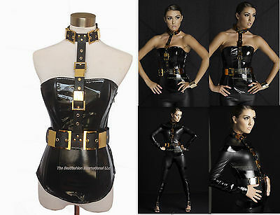 Black Leather Punk Halloween Gold Costume harness Belt Brass Buckle Studded o/s