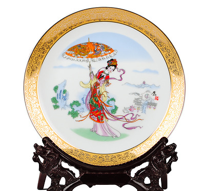 Delicate Chinese Coloful Porcelain Hand Painted Miaojin Belle Plate Tq10315