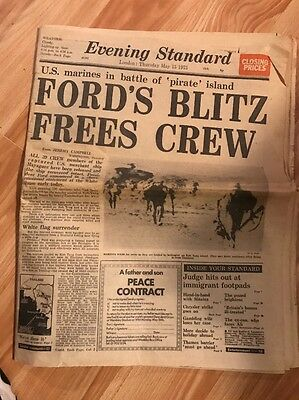 Vintage 1975 Evening Standard News Paper From London President Ford Frees Crew