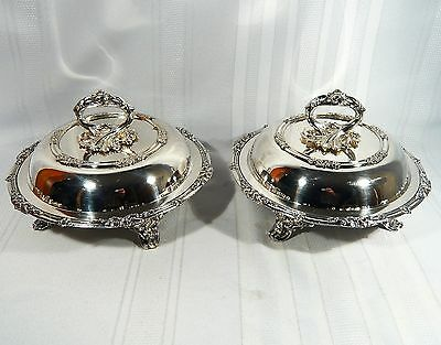 2 Antique OLD SHEFFIELD PLATE Covered Round ENTREE / Vegetable DISHES c. 1850
