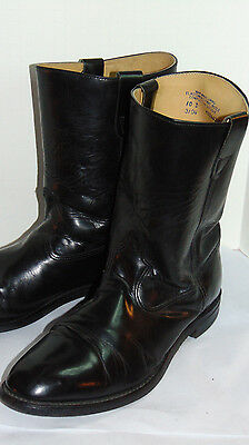 "Men's Pull-On 9"" Black Leather Motorcycle Boots! Classic Style! 10 D"