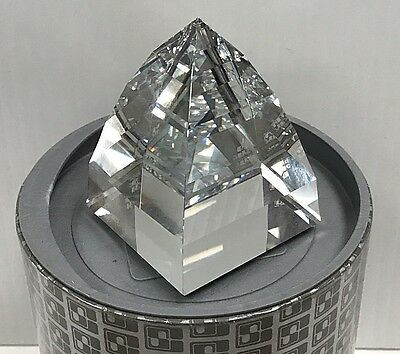 SWAROVSKI CRYSTAL PYRAMID PAPERWEIGHT 7450 CLEAR PRISM FACETED w/ORIG BOX NOS NR