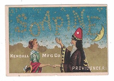 Soapine Trade Card Wizard  Charlotte Perkins Gilman Kendall Mfg Moon-Stars