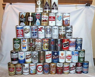 Mixed Lot 48 Vintage Beer Cans - Most Pull Tab Top, Some Air Filled