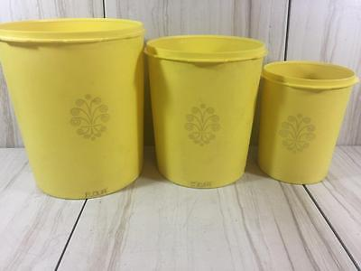 Vintage Tupperware Servalier Daffodil Yellow Canister Set 805 811 807 With Lids