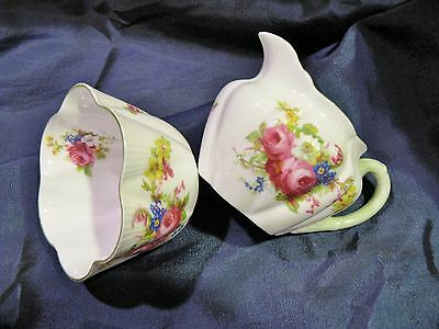 Vintage Shelley ROSE SPRAY Creamer Sugar green trim Rd 272101 13240 Very nice