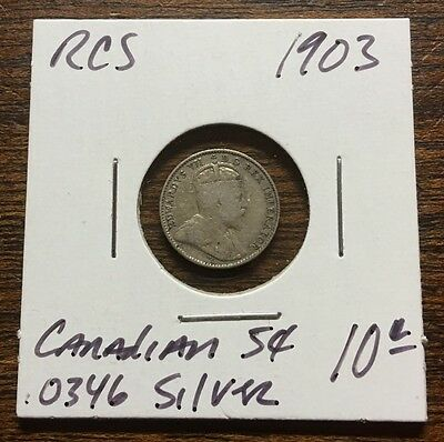 1903 5 Cent Silver Piece / Coin Canada Good .925 / .0349 Asw