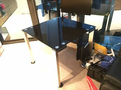 Black glass dining table
