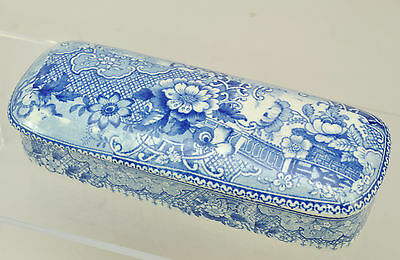 Antique Romantic Staffordshire Blue Transfer Toilet Box c 1840