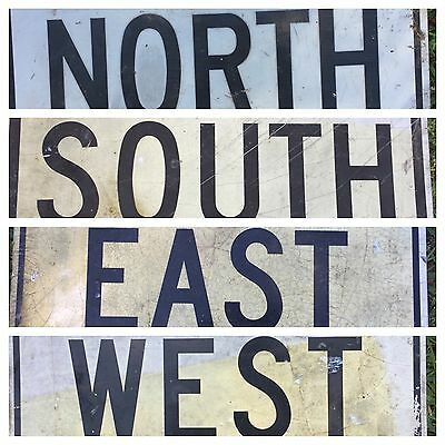 """4 Very Old 12"""" X 24"""" North South East West Highway Traffic Black & White Lot"""