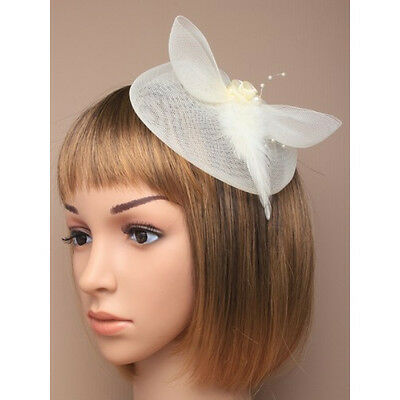 Cream Fascinator on Headband/ Clip-in for Weddings, Races and Occasions-5201
