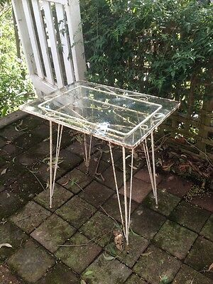 Outdoor Table Glass & Wrought Iron Shabby Chic