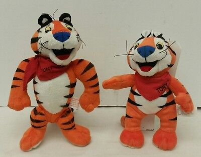 """Set of 2: 1997 & 2000 Kellogg's Frosted Flakes """"Tony The Tiger"""" Toy Plush Dolls"""