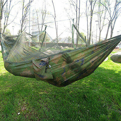 Portable High Strength Parachute Fabric Hammock Hanging Bed with Mosquito Net 3