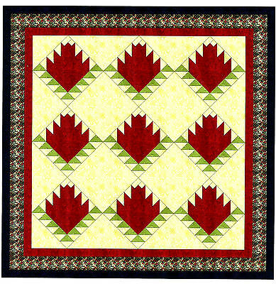 Easy Quilt Kit/Red Rose Log Cabin /Pre-cut Fabrics Ready To Sew***