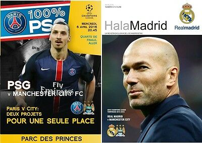 2 Program. PSG & Real Madrid - Manchester City 2016 Champions League Unofficial