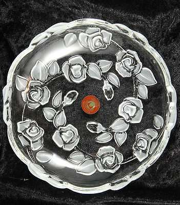 Original Waltherglas made in Germany rose design glass bowl  7 inches across