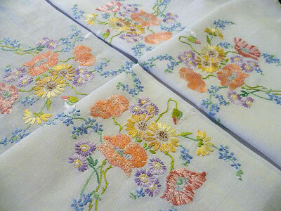 Vintage Hand Embroidered Linen ~Charming Poppies & Meadow Flowers Tablecloth