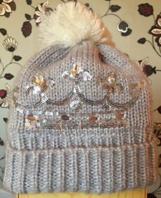 Girls Hat By George Age 4-8 Years WINTER HAT / CROWN / PRINCESS / GREY / POM POM