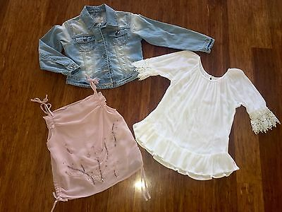 Size 7 Girls tops and NEXT Denim jacket