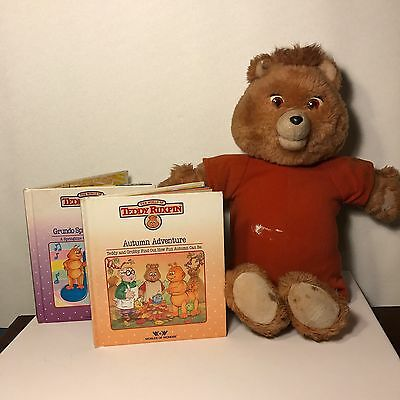 Vintage Teddy Ruxpin And 2 Vintage Books  Untested 80's Toy