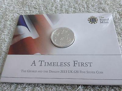 The George And The Dragon A Timeless First 2013 UK £20 Fine Silver Coin