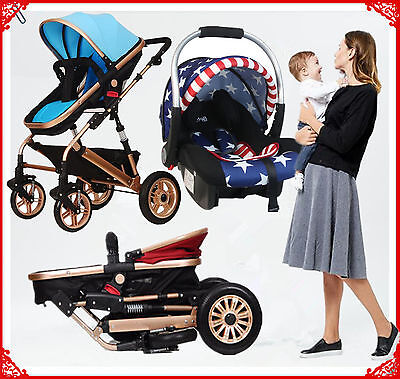 Kid Baby Child Stroller Pram Bassinet Reversible Jogger Baby Car Seat New 4 In1