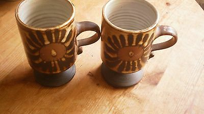 Briglin Studio Pottery - Pair Of Pedestal Mugs