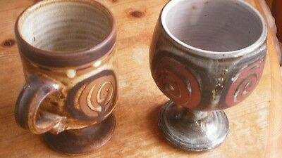 Briglin Pottery Goblet And Pedestal Mug