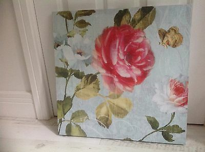 """Floral Butterfly Canvas Wall Art Picture 20"""" x 20"""" Immaculate Condition"""