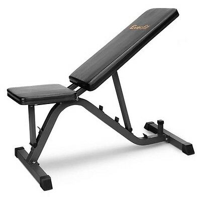 Adjustable Weight FID Bench w Flat Incline Decline Gym Ab Press Exercise Fitness