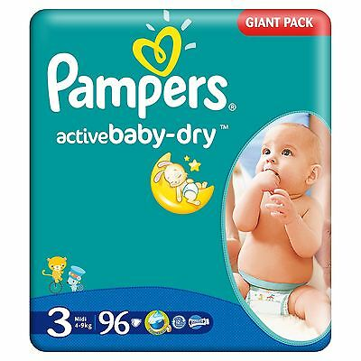 Promo 96 Couches PAMPERS Active Baby Dry - Taille 3 - 4/9 kgs