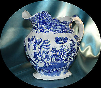 Antique Allertons Blue White Willow Water Pitcher Jug (1145)