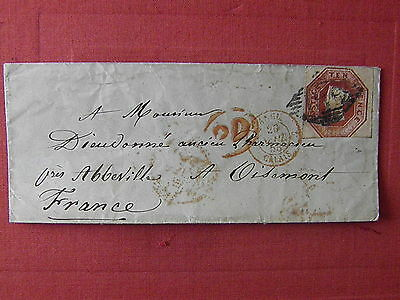GB 1853 Cover to France SG 57 10d Embossed 3 Margins SEE PHOTOS!!!