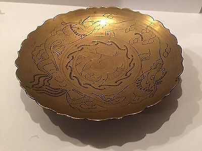 Vintage Brass Engraved Chinese Shallow Bowl -  Dragons Dragon