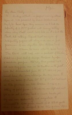 Copy Ww1 Somme. Letter Sir Walter Congreve To Son About Somme Xiii Corps Attack