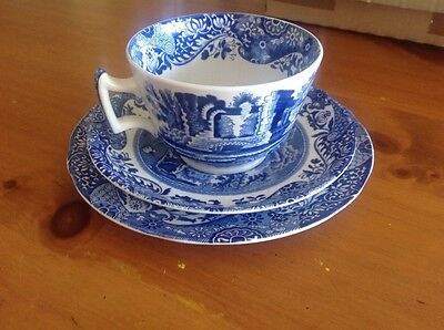 1 Spode Italian Blue and White Breakfast Cup, Saucer and Plate